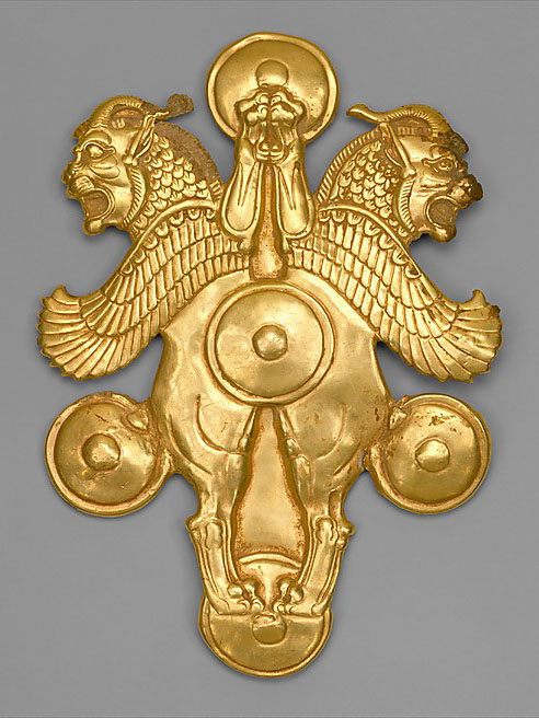 Achaemenid Empire Gold lion-griffin plaque