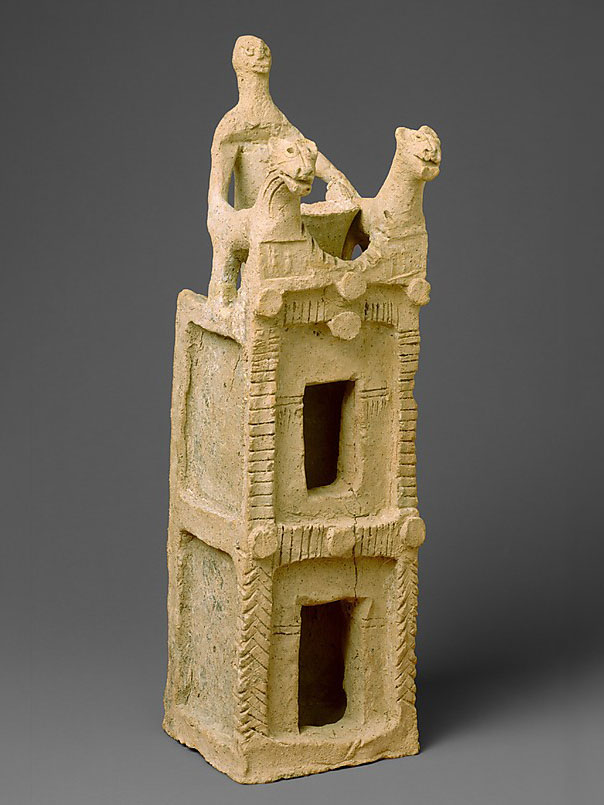 First Assyrian Empire Ceramic tower with figure and tw